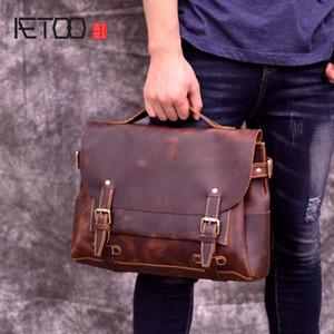 Aetoo New Head Cowhide Oblique Bag, Boldery Academy Wind Postman Bag, Cuero Retro Hombre Hombro Hombro