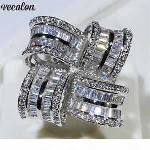 Vecalon Luxury Big Flower Promise ring 925 sterling silver Diamond Engagement wedding Band rings for women men Finger Jewelry