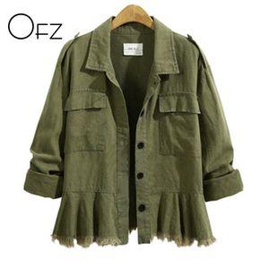 Kadın Ceketleri OFZ 2021 Sonbahar Kış Artı Boyutu 5XL Kadınlar Uzun Kollu Vintage Püsküller Bayanlar Palto Pamuk Ordu Yeşil Etek Giyim
