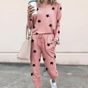 Stars Print Casual Women Two Piece Sets 2021 New Spring Autumn Loungewear Womens Leisure Top Shirt And Pocket Pants Outfits Set
