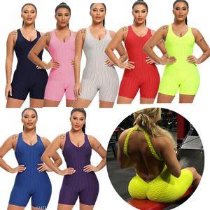 2020 Kadın Stretch Spor tulum Şort Takım Elbise Kolsuz Backless Seksi Fitness Egzersiz Yoga Bodysuits Tulum Spor Giyim F92804