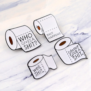 New 4styles Roll Paper Funny Shit Brooch Friend Icon Badge Button Lapel Clothes Cap Bag