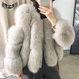 BFFUR Real Fox Fur Coat For Women Genuine Sheepskin Natural Whole Skin Fox Fur Jackets Woman Winter Overcoats Luxury Fur Coats201016