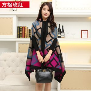 New 2020 women winter scarf warmer shawl ladies plaid Blanket knit wrap Cashmere poncho capes female echarpe1