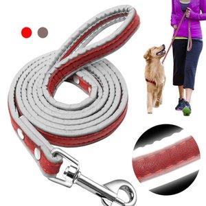 4ft couro cão coleira reflexiva cão de estimação cachorro andando correndo chumbo leashes para pequeno med jllpsu