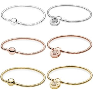 100% 925 sterling silver shiny gold glitter round letter flash moment soft snake chain charm lock DIY jewelry gift