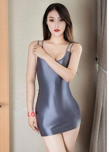 Sexy Slip Dress Tight Pencil Cute See Through Club Dress Push Up Butt Sexy Oil Shiny Candy Color Backless Bandage Women