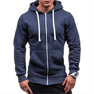Erkek Katı Renk Fermuar Hoodies Moda Eğilim Uzun Kollu Hırka Kapşonlu Tişörtü Erkek Bahar Yeni Cep Hoodies Ile Gevşek Gevşek