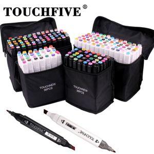 Touchfive 36/60/80/168 ألوان الفنان كحول علامات المزدوج تلميح الفن علامات التوأم رسم دائم الكحول علامات 210226