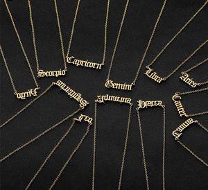 Personalisierter Brief Tierkreis Halskette Sternbild Halsketten Custom Edelstahl Alte englische Halskette Geburtstagsschmuck Geschenke