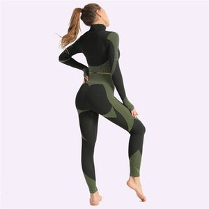 High Waist Seamless Leggings Push Up Leggins Sport Women Fitness Running Yoga Pants Leggings Gym Girl leggins Yoga suit Long sleeve top