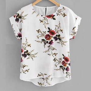 Summer Fashion Floral Print Blouse Pullover Ladies O Neck Tee Tops Female Womens Short Sleeve Shirt Blusas Femininas Clothing