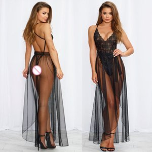 Женщины Эротическое белье Экзотические наборы выдалбливают Backless комбинезон + Ночное белье Babydoll платье шнурка G-шнура нижнего белья