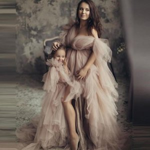 Vintage Evening Dresses Puffy Tulle Mom And Me Dress For Photo Shoot Women Maternity Dress V Neck Slit Plus Size Pregnant Prom Gowns AL8579