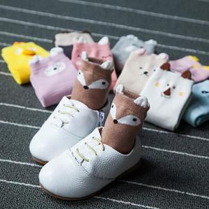 Novas Meias Crianças 5 Pares Lot Primavera Crianças Meias Combed Algodão Bebê Caixa De Bebê Animal Sock Airy Meninos Curtos Fox Kitty Socks 0 5Y BBYEJX