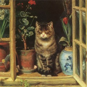 Dozing cat in a window with flowers landscape Home Decoration Oil Painting On Canvas Wall Art Canvas Pictures For Wall Decor 201020