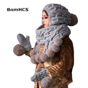 BomHCS Super Big Grey Scarf Hat & Gloves (2PCS SUIT) Cute Women Winter Warm Beanie 100% Handmade Knit Caps Mittens Gift