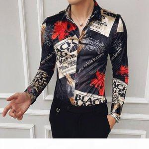 Autumn trend new nightclub hair stylist long sleeve shirt men's large size Korean version of the self-cultivation gold velvet printed s