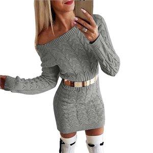 Robe femme chandails New nervuré Lady gaine Pull Twist chaud Mini Tunique Robe moulante hiver élégante automne Sweater
