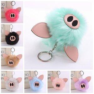 Подвески Кролик сумки Женщины Мех Pig Xmas брелок автомобиля Pig Симпатичные кольца Key Поддельный подарков Пушистый bbymc bdehome