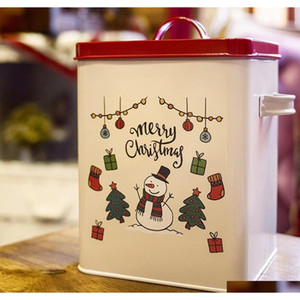 christmas tin gift box cookie candy storage containers with lids, vintage style bread box kitchen bread bin ppX7f