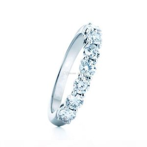 Luxury Solid 925 Silver 0.7CT Moissanite Jewelry Positive 7Stones Wedding Band Ring
