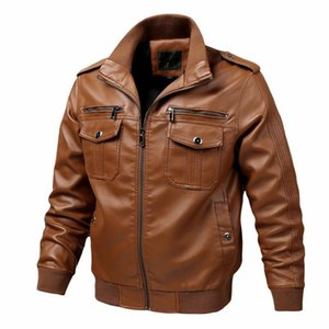 2020 New Autumn and Winter Mens Motorcycle Vintage Leather Jacket Male Fashion Biker Pocket Design PU Leather Jacket Men Coat