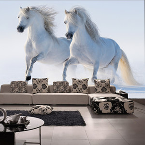 Bacal 3d PaPel Mural animal White horse wall mural wallpaper for Sofa Background living room 3D photo mural Wall paper decor