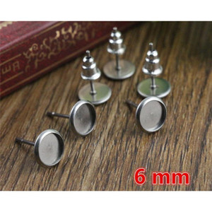 6mm 20pcs lot (never Fade) 316 Stainless Steel Earring Base Studs Ear Cameo Settings Cabochon Base Tray Blank (with Bac jllQym