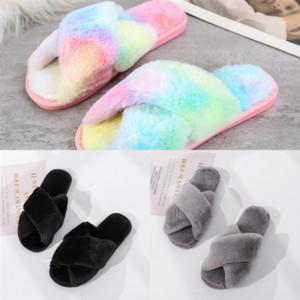cGVQ6 Paris Rhombus Rhinestone Slipper Channel Sandals Fur woman slipper boot sock Warm Wool Cross Plush Sliders Lambskin plush Women