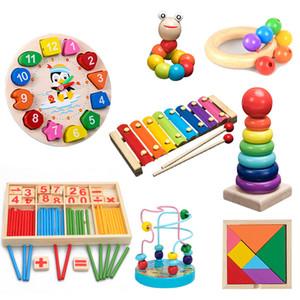 Bloques de madera coloridos juguetes educativos para niños Juguetes Ilustración Montessori Aprender Niñez QWZ bebé de los niños