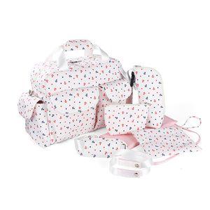 7pcs suit Diaper Multifunctional Baby Nappy Organizer Stroller Bag Waterproof Mother Handbag 201021