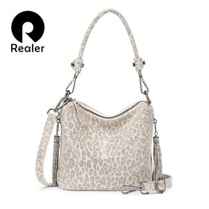 REALER women handbags with top-handle small crossbody bags for ladies genuine leather shoulder bag leopard print leather 200930