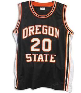 Cheap Custom Retro # 20 Gary Payton Oregon State Beavers Basketball-Jersey-Männer Schwarz Orange genähtes irgendeine Größe 2XS-3XL 4XL 5XL Name Nummer