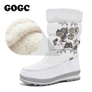 GOGC platform black winter white snow boots flats women womens booties female shoes G9620 201019