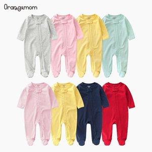 Официальный магазин Orangemom 2020 Новый ребенок ползунки пружины новорожденного мальчики девушки одежда сплошной цвет с длинным рукавом повседневная коммутация Y1219