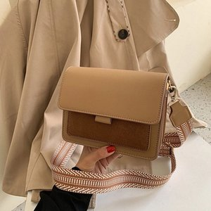 2020 New Womens Shoulder Bag Fashion Frosted Wide Strap Shoulder Bag Wild Messenger Small Square Trend Square Women Cheap Bags Shoulde hHFa#