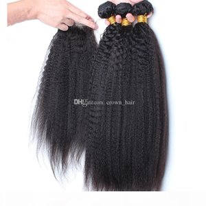 9A Brazilian Kinky Straight Hair With Closure Free Middle 3 Part 100% Coarse Yaki Lace Closure With Human Hair Bundles 4pcs lot