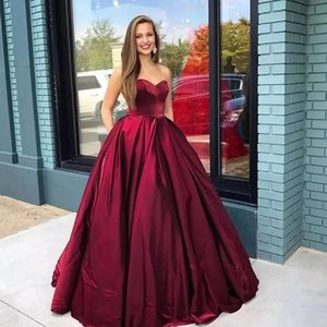 2021 New Sexy Sweetheart Wine Red Satin A-Line Quinceanera Dresses Ruched Lace-Up Sweet 16 Dress Debutante Prom Party Dress Custom Made 020