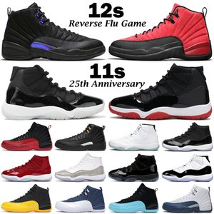 Mens Basketball Shoes Jumpman 12s Dark Concord 12 Reverse Flu Game University Gold 11s 25th Anniversary 11 Bred Men Women Sports Sneakers