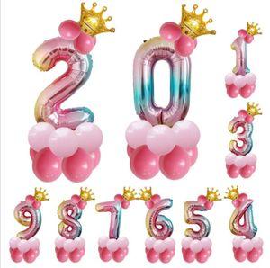 13pcs / set Geburtstag Ballons Regenbogen Anzahl Folienballons Kinder 1. Geburtstags-Party-Dekorationen Luftballons Geburtstagsluftballon