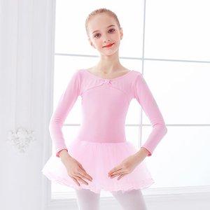 핑크 소녀 발레 댄스 레오타드 투투 드레스 바지 긴 소매 체조 leotard 투투 스커트와 레오타드