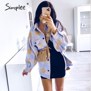 Simplee Casual plaid jacket coat women Puff sleeve button pockets outwear female jackets Spring plus size ladies long coat 200930