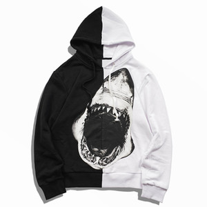 Mens Shark Print Hoodies Men Women Best Quality Black and white stitching Hooded Pullover Couples High Quality Casual Sweatshirts Size S-XL