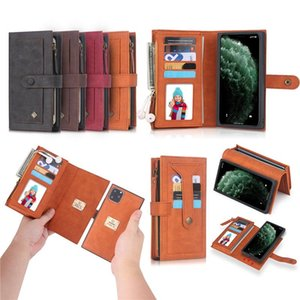Top Quality PU Leather Wallet Case with Card Slots for Iphone Multifunction Purse Samsung S20 HUAWEI P30