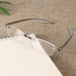 Половина кадра прозрачные очки для чтения серые винтажные пресбиопские очки Myopia очки металлические ультра светлые смолы 1.00 ~ 4,0 диоптер1