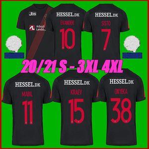 Tailandia Calidad 2021 Midtjyland Soccer Jersey 2020 2021 Sisto Evander Mabil Kraev Onyeka Camisetas de fútbol Tamaño S-4XL
