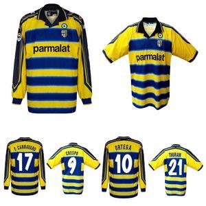 Ретро Vintage Maglia Maglie Parma 1999 2000 Crespo Ortega Busbon Thuram Thailand Качество Футбол футболка Футбол Джерси Камисета Футбол Камис
