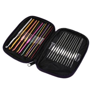 8 22pcs Multi Coloured Aluminum Crochet Hooks Knitting Needles Set Weave Craft Kits Embroidery Needlework Sewing Tools