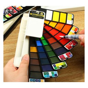 superior solid watercolor paint set beginner fountain pen child fan-shaped watercolor paint student painting tools art supplies